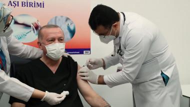 Președintele turc Recep Erdogan s-a vaccinat împotriva Covid-19.
