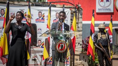 Robert Kyagulanyi, candidat la alegerile prezindențiale din Uganda.