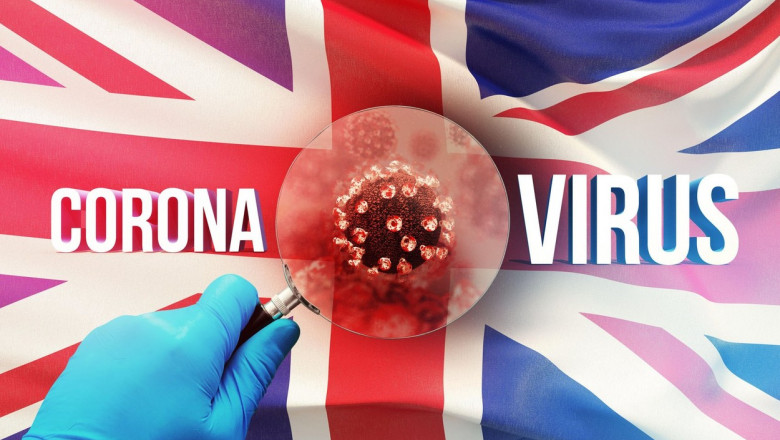 ilustratie cu steagul Marii Britanii si noua tulpina britanică a covid