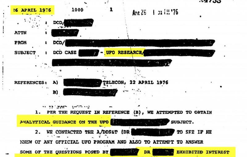 dosar CIA despre fenomen OZN observat în aprilie 1976