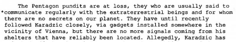 extras raport CIA despre Radovan Karadzic