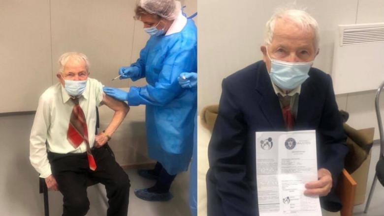 Un bătrân în vârstă de 93 de ani din Piatra-Neamț este cea mai vârstnică persoană din oraș care s-a vaccinat împotriva Covid-19