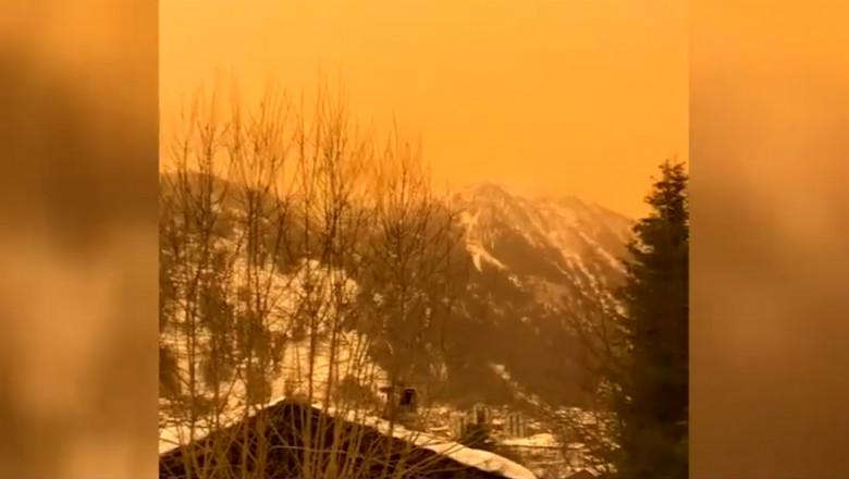 Oraș din Franța în care un nor de praf saharian a schimbat culoarea cerului în portocalie
