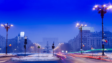 Bucharest city in winter night
