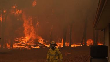 Incendii de vegetație în Australia, pompier cu flacari in spate