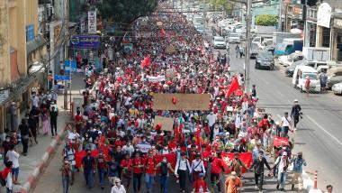 Protest în orașul Yangon din Myanmar