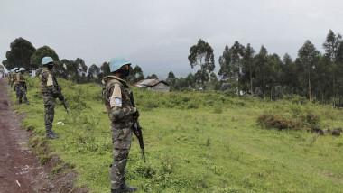 Militari din misiunea forţelor ONU în Congo patrulează în zona în care a fost ucis ambasadorul italian în R.D. Congo