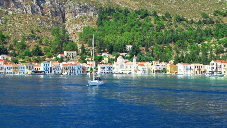 Kastellorizo (Megisti,Meis) , Greece. Colorful waterfront buildings of the Greek island.