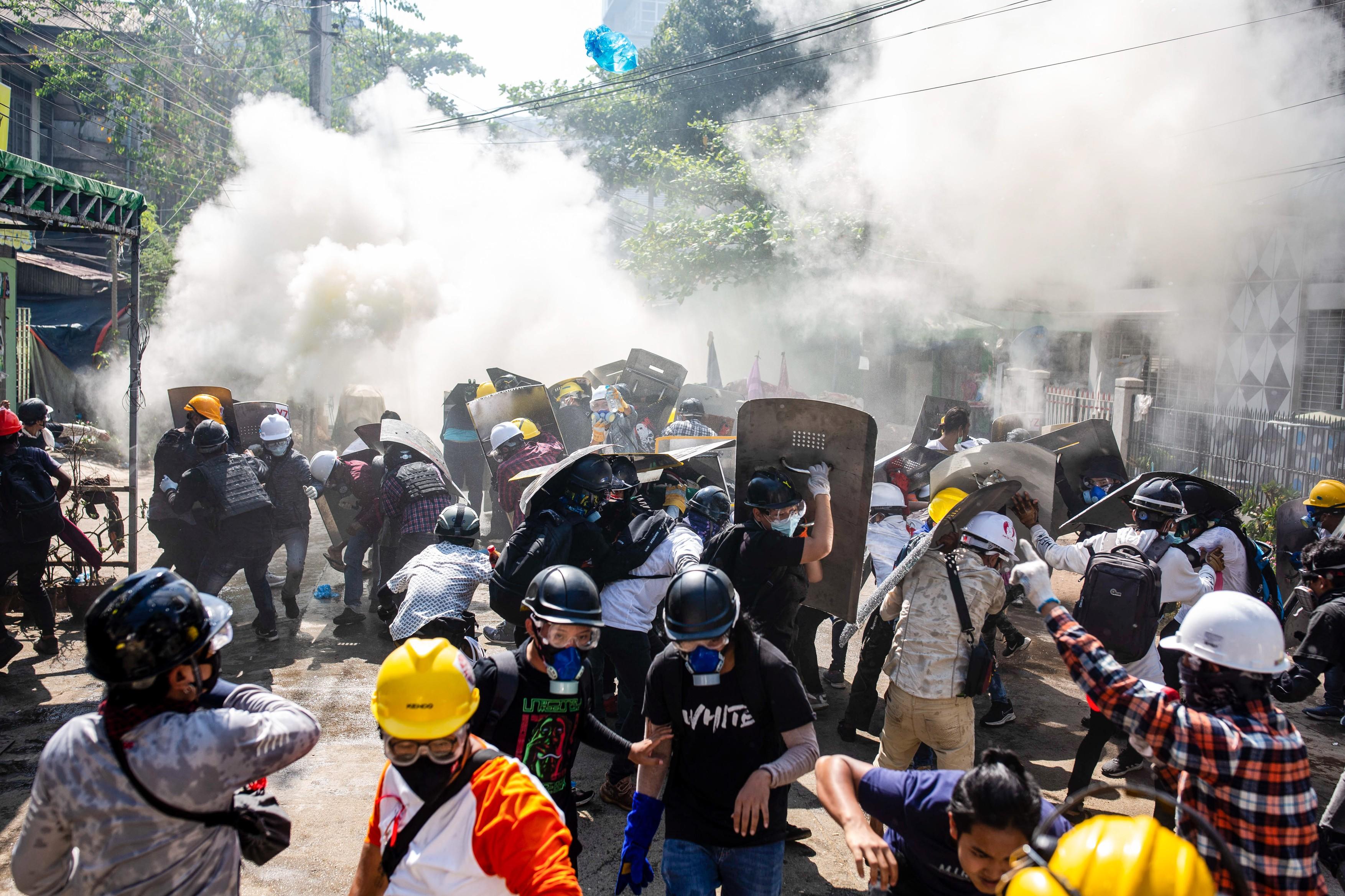 Anti military coup protest in Yangon, Myanmar - 08 Mar 2021