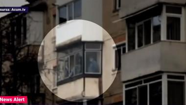 agresor cu ostatici pe balcon
