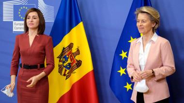 preşedinta Republicii Moldova, Maia Sandu, împreună cu preşedinta Comisiei Europene, Ursula von der Leyen