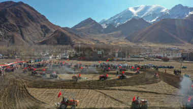 The farmers are holding the traditional spring ploughing ceremony to pray for the harvest in Lhasa,Tibet,China on 16th March, 2021