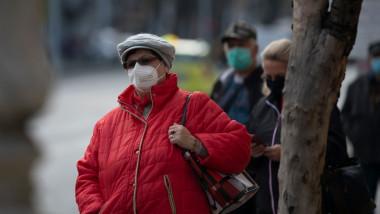 Oameni pe stradă cu mască, în București. Foto: Profimedia Images