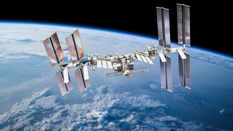 ISS station on orbit of the Earth planet. Elements of this image furnished by NASA