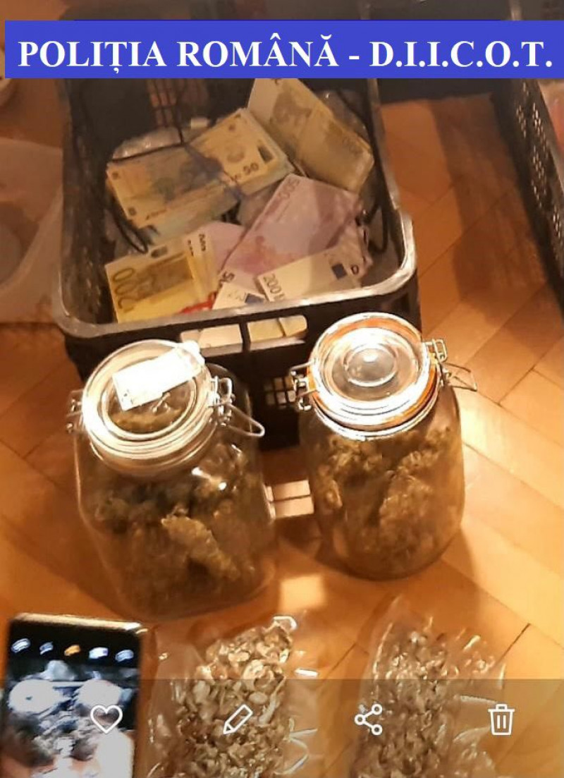 Captură diicot droguri bani