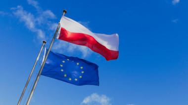 Drapelele Poloniei și Uniunii Eropene.