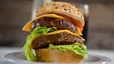 Hamburger pe farfurie