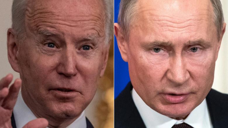 colaj cu Joe Biden in stanga și Vladimir Putin in dreapta
