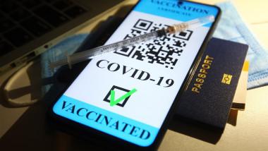 Pașaport de vaccinare cu cod QR, pașaport, o seringă și o mască medicinală