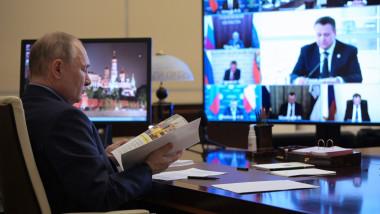 Președintele rus, Vladimir Putin, la o videoconferință cu membrii Consiliului de Stat și ai Agenției de Inițiative Strategice