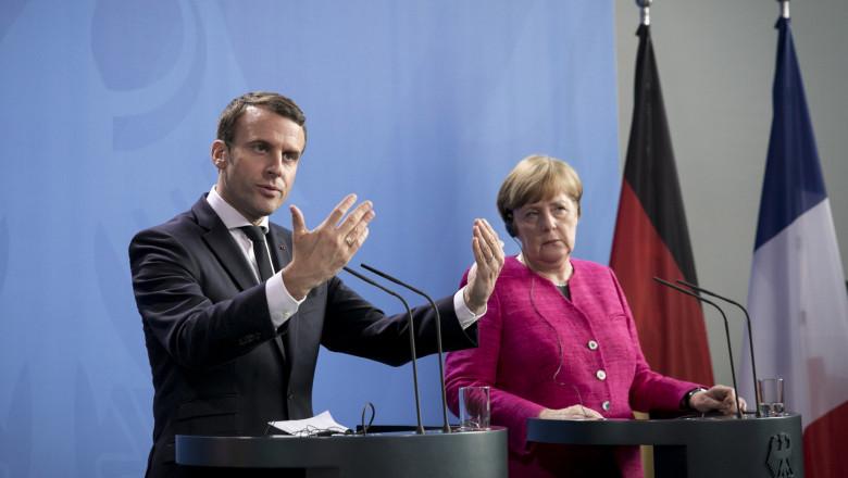Emmanuel Macron și Angela Merkel getty