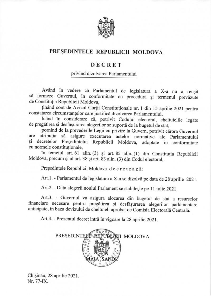 decret dizolvare parlament chisinau