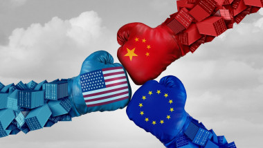 European China and American trade fight and tariff war as a Chinese Europe USA economic problem as cargo containers in conflict.