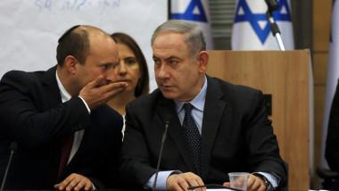 Benjamin Netanyahu şi liderul partdului dreptei radicale, Yamina, Naftali Bennett