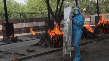 Mangolpuri crematorium ground in New Delhi, India - 14 May 2021