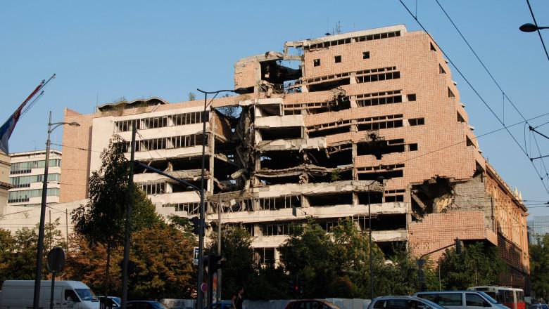 Clădire guvernamentală din Belgrad distrusă de bombardamentele NATO din 1999