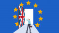 Brexit negotiation, deal and decision, Europe and United Kingdom economic future after UK exit Euro zone concept, frustrated businessman standing in front of union jack door to exit Euro flag room.
