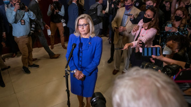 United States Representative Liz Cheney (Republican of Wyoming) offers brief remarks following the GOP Conference vote to decide her fate with her role in the House GOP leadership, District of Columbia, USA - 12 May 2021