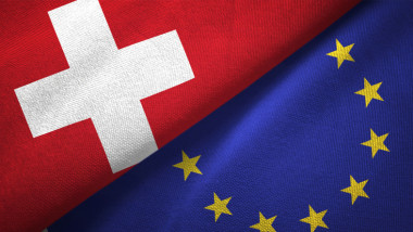 European Union and Switzerland two flags together realations textile cloth fabric texture