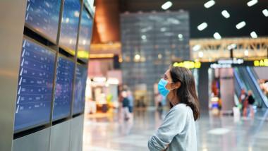 pasagera in aeroport cu masca priveste orarul curselor aeriene