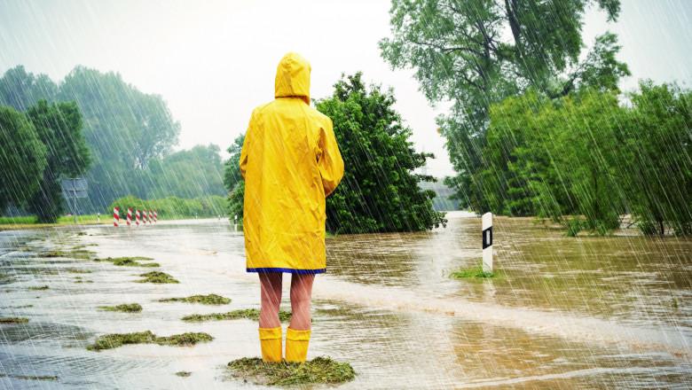 femeie cu haina galbena in ploaie