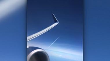 filmare din avion cu momentul in care o racheta este lansata in spatiu