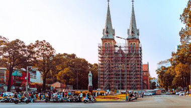 01 Mar, 2021 Notre Dame Cathedral (Vietnamese: Nha Tho Duc Ba) in sunny day. Build in 1883 in Ho Chi Minh city, Vietnam. HO CHI MINH CITY (SAI GON)