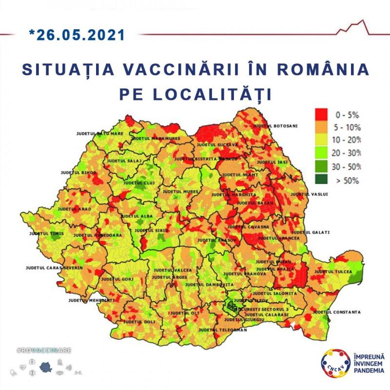 Situația vaccinării în România pe localități (26 mai)