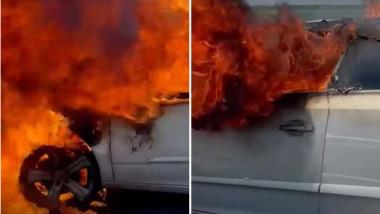 masina in flacări pe A1