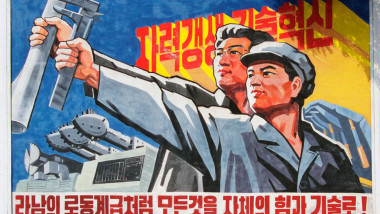 Socialist Realist propaganda poster, Pyongyang, North Korea