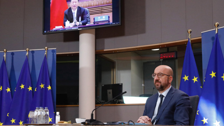 Belgium, Brussels: President Michel in video at the Leaders' Climate Summit. Charles Michel, President of the European Council and the Chinese President Xi Jinping on the screen