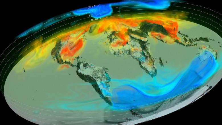 Global atmospheric carbon dioxide, 3D model