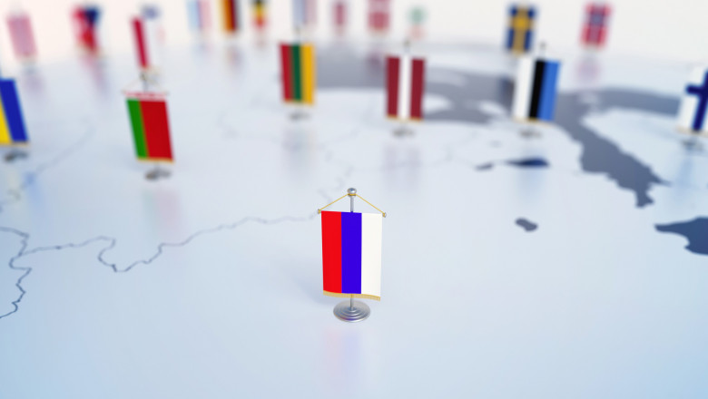 Flag of Russia in focus among other European countries flags