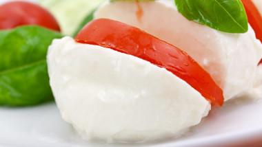 Tomato cheese salad with basil,puree