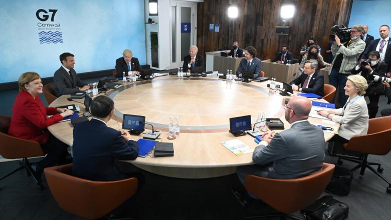 liderii g7 summit macron merkel, biden, johnson, michel