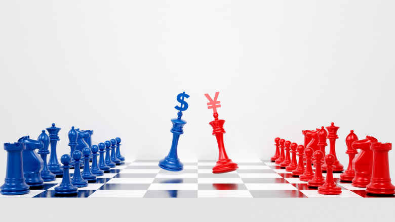 3d chess pieces. 3d rendering for USA and china trade war. US America against China tariffs conflict with dollar and yuan on chess board background abstract. Economic crisis concept.