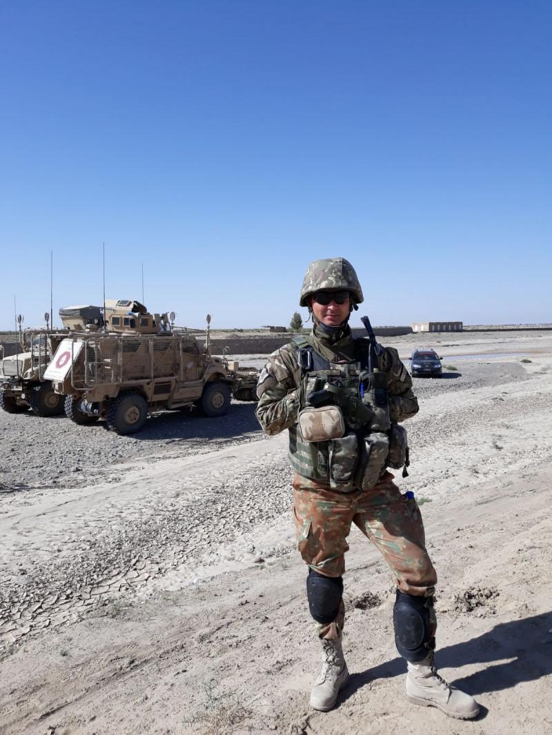 Plutionierul major Bogdan Ciocan în Afganistan. Foto din arhiva personală