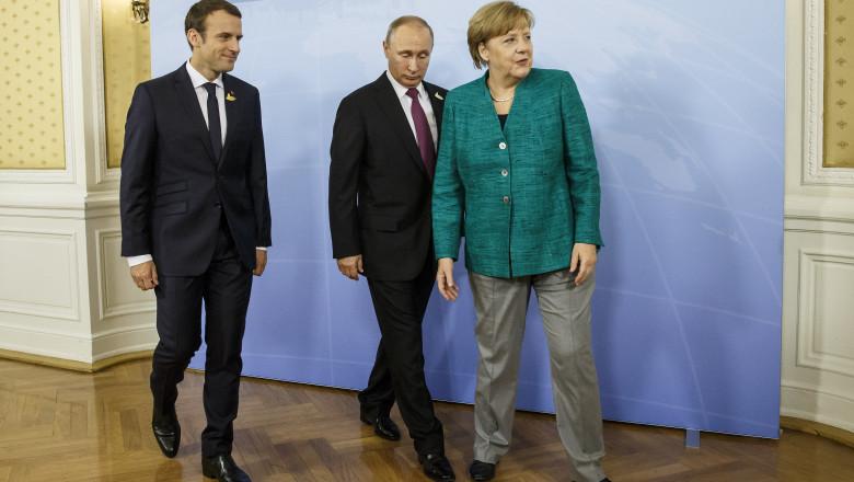 Vladimir Puti, Angela Merkel și Emmanuel Macron