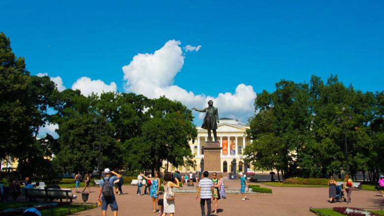ploshchad Iskusstv, The Art Square, with statue of Alexander Pushkin, central Saint Petersburg, Russia, Europe