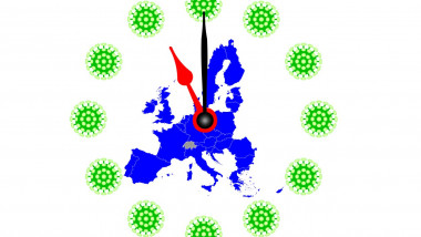 COVID-19 Virus Map from Europe with Clock